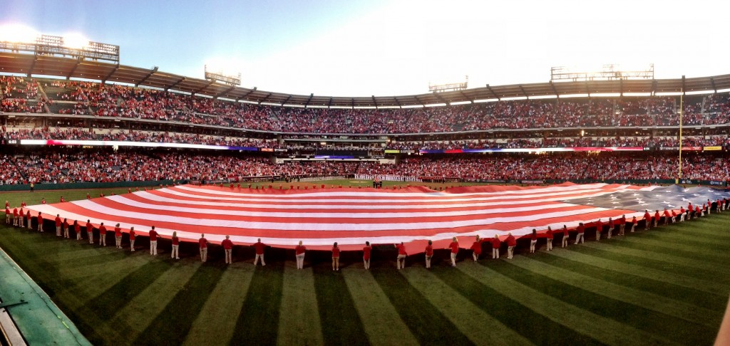 Panoramic shot from our seats at Angels Stadium on Opening Day