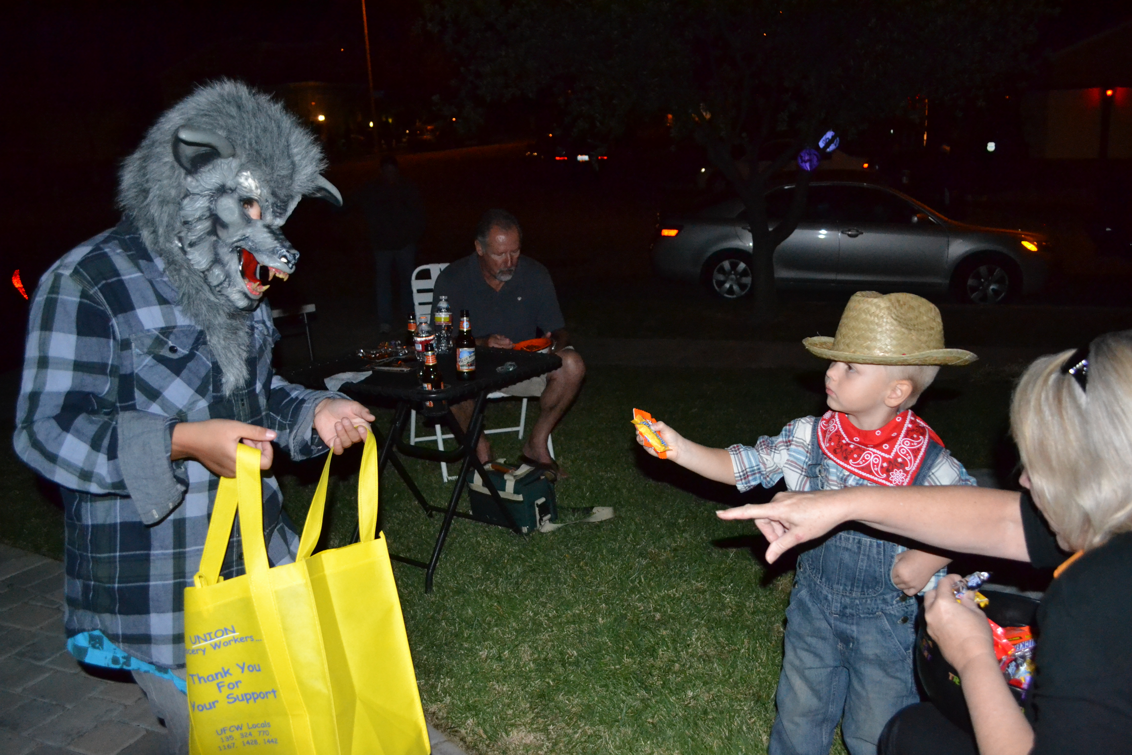 He loved handing out candy, but was wisely cautious.
